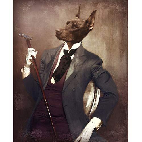 Vintage Style Home Decoration Tiere Leinwand Malerei Deer Cat Dog Portrait Poster Drucken Nordic Wandkunst Bild Für Schlafzimmer 50 * 70 cm Ohne Rahmen