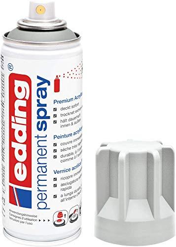 edding 5200 Permanent-Spray - licht-grau matt - 200 ml - Acryllack zum Lackieren und Dekorieren von Glas, Metall, Holz, Keramik, lackierb. Kunststoff, Leinwand, u. v. m. - Sprühfarbe