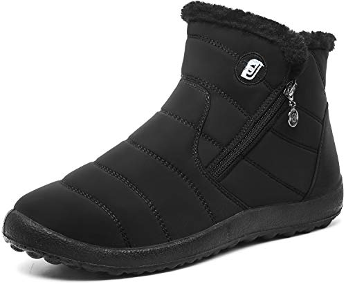 JOINFREE Womens Cozy Waterproof Boots Winter Footwear with Oxford Cloth Mid Black 8.5 M US