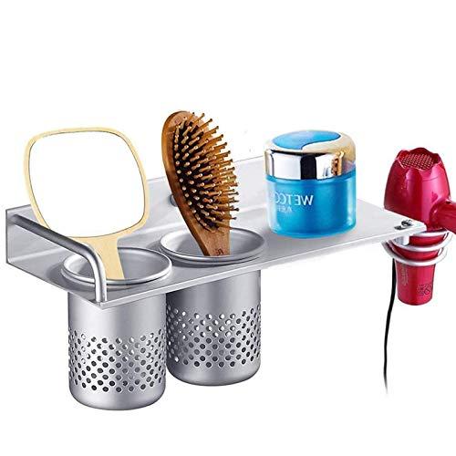 Espacio de Aluminio secador de Pelo Espiral Soporte para secador de Pelo Organizador secador de Pelo Montaje en Pared secador de Pelo Estante Colgante Estante para Colgar el Cabello con Taza