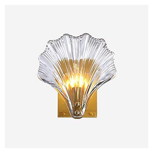 Lámpara de pared Lámpara de pared de cristal posmoderna Luz de lujo Dormitorio de lujo Sala de estar Luz de pared Cáscara creativa Cáscara de casa Decoración de la decoración Escaleras de corredor Lám