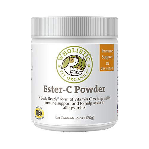 Wholistic Pet Organics Ester C: Vitamin C Dog Supplement - 1200mg Ester C Powder for Dogs - Pure, Concentrated Calcium Ascorbate Dog Vitamin C Powder for Immune and Joint Health, UTI Issues - 6 Oz