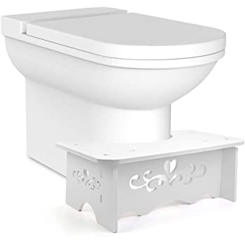 7 inch White Comfort Toilet Squat Stool,Sturdy Wood Plastic Board Stool load-bearing 400 lbs For Natural /& Comfortable for Kids,Children,Toddlers,Adults