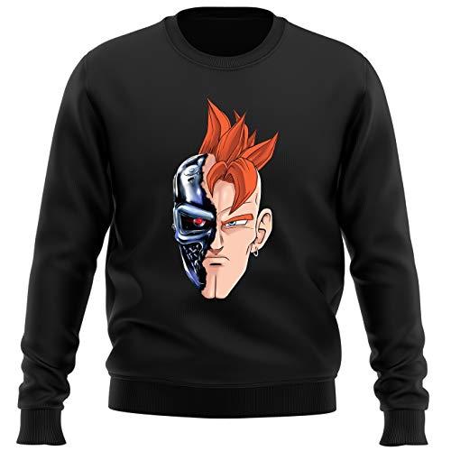 Okiwoki Pull Noir Parodie Dragon Ball Z - Terminator - C16 X Terminator - T-16 (Sweatshirt de qualité Premium de Taille L - imprimé en France)