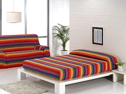 Regalitostv Colcha Multiusos Foulard Plaid Color Liso Jaspeado FÁBRICADO ESPAÑA (220_x_250_cm (SOFÁ 3 PLAZAS O Cama 135), Verde)