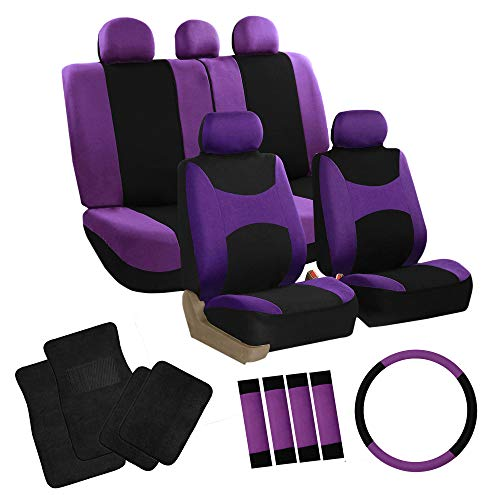 FH Group FH-FB030115 Light & Breezy Purple/Black Cloth Seat Cover Set Airbag & Split Ready with Steering Wheel Cover, Seat Belt Pads and Floor Mats- Fit Most Car, Truck, SUV, or Van