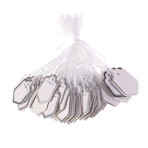 Exceart 500 Stück Geschenkschnur Tags Leere Papieranhänger für Geschenke Promotions Events Oder Boutique Schmuck Armband Ohrringe Silber