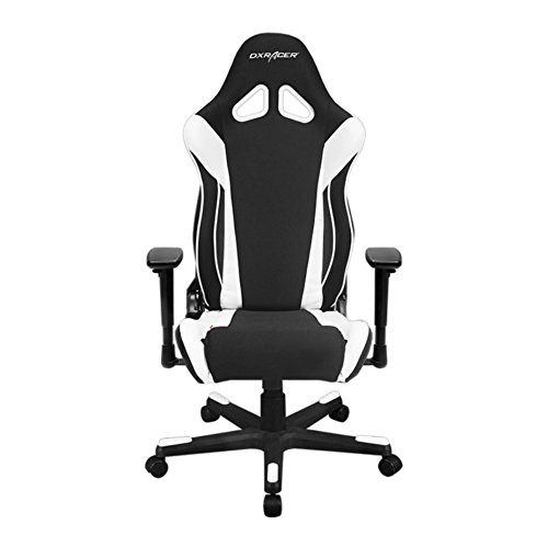 DXRacer OH/RW106/NW Racing Series Black and White Gaming Chair - Includes 2 Free Cushions chair gaming white
