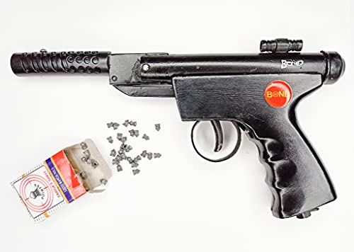 Air Gun Original Pistol Real Metal Butt with 100 pettles, Safe for Kids to Play 6+6 (Black)