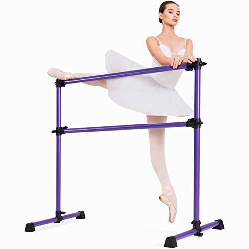 COSTWAY Ballettstange freistehend, Ballet Bar höhenverstellbar, Ballett Barre aus Eisen, Stretch Barre bis 50KG belastbar, ideal für Kinder und Erwachsene (Lila)