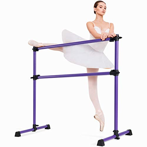 Costzon Portable Ballet Barre, 4FT Adjustable Double Freestanding Ballet Bar w/Anti-Skid Pad, Stable Base, Heavy-Duty Dancing Stretching Bar for Home, Fitness, Ballet (Purple)