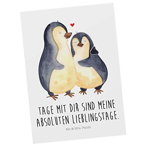 Mr. & Mrs. Panda Einladung, Karte, Postkarte Pinguin umarmend mit Spruch - Farbe Weiß