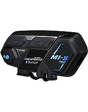 FODSPORTS バイク インカム M1-S Pro 最大8人同時通話 Bluetooth4.1 強い互換性 連続使用20時間 日本語音声案内 マルチデバイス接続 インターコム 防水 HI-FI音質 Siri/S-voice ワイヤレス 2種類マイク 日本語オペレーションシステム&説明書 技適認証済み(二台セット)