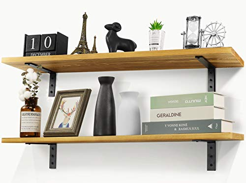 Befayoo Floating Wall Shelves, 35.5-inch Long Shelf 100% Solid Pine Wooden Rustic Decor for Bedroom, Living Room, Office (Natural Wood)