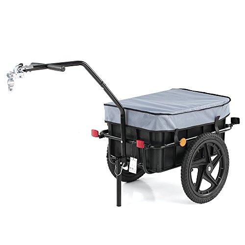IKAYAA Bike Cargo Anhänger | Handwagen | Fahrrad Gepäckanhänger | Fahrradanhänger | Transportanhänger | Lastenanhänger | Anhänger Cart Carrier | mit Transport Box & Abdeckung