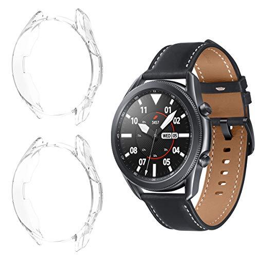 Aimtel Hülle Kompatibel mit Samsung Galaxy Watch 3 45mm Schutzhülle, [2 Stück] [5H-Festigkeit PC] Schutzhülle Schutz für Galaxy Watch3 45mm-Transparent