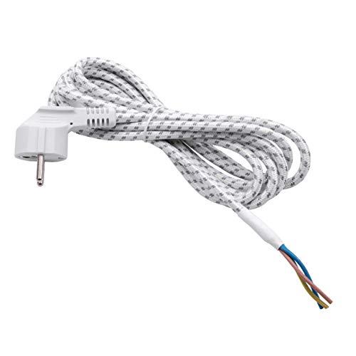 vhbw Universal Stromkabel, Anschlussleitung passend für Bügeleisen (2.80m) - flexible, robust, passgenau mit Schutzkontakt-Stecker und Aderenden