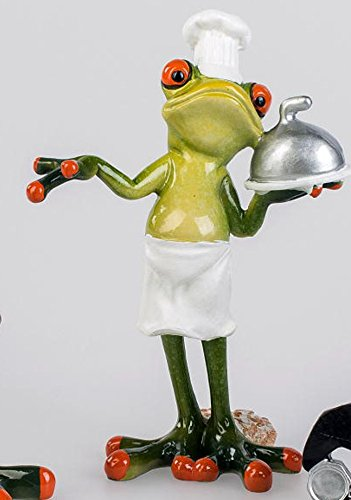 Dekofigur lustiger Frosch als Koch, 13 cm