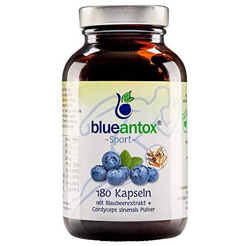 blueantox®-sport NATURKRAFT der wilden Blaubeere - ohne Zusatzstoffe - Sorgfältig hergestellt in Deutschland - 180 Kapseln mit Vitamin B1, B2, B6, B12 und Cordyceps Sinensis