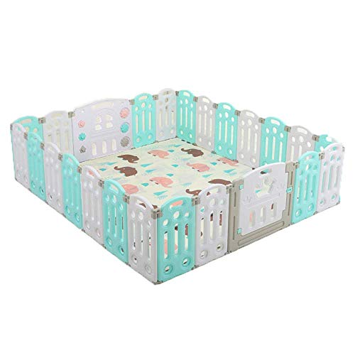 XIAO WEI Children's playpen Children's playpen Environmentally Friendly PE Foldable Lockable Children's Activity Center Suitable for Children from 0 to 3 Years Blue Fence 22