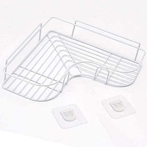 Salle de bains Étagère d'angle non perforante Ustensiles de toilette Support de rangement en fer Cuisine Trépied Salle de bains Cadre d'angle Triangle Basket (autocollants non inclus) Blanc