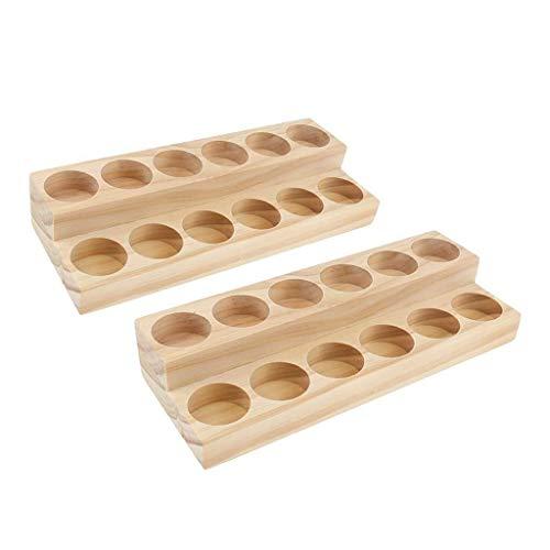 WUYUESUN Soportes de almacenamiento para aceites esenciales de madera, 2 piezas (24 ranuras), para la colección del hogar y el salón al por menor