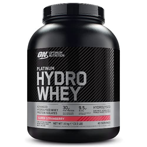 Optimum Nutrition Platinum Hydro Whey, Proteine Idrolizzate di Siero di Latte, Fresa, 40 Porzioni, 1,6 kg, il Packaging Può Variare