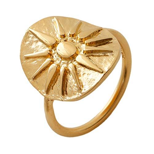 Pernille Corydon Ring Damen Sonne Gold - Bali Serie Plättchen 925 Silber Vergoldet Größe 55 - R211g