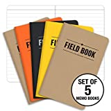 "Field Notebook/Pocket Journal - 3.5""x5.5"" - Combination of Kraft, Black, Orange, Yellow - Lined Memo Book - Pack of 5"