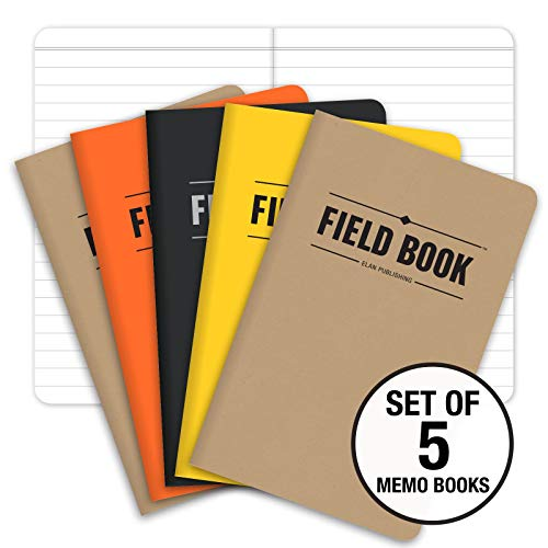 "Field Notebook/Pocket Journal - 3.5""x5.5"" - Combination of Kraft, Black, Orange, Yellow - Lined Memo Book - Pack of 5"