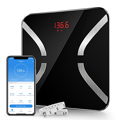 Nicewell Body Fat Scale, BMI Smart Digital Bathroom Wireless Weight Scale for Body Composition Analyzer, Smartphone App sync with Bluetooth, Tempered Glass and Black