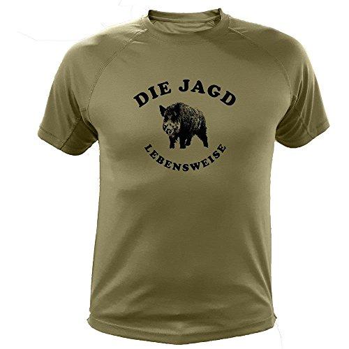 T Shirt jagdmotiv Wildschwein Gesicht für Mann - Jagd Geschenke (20103, grün, 12a)