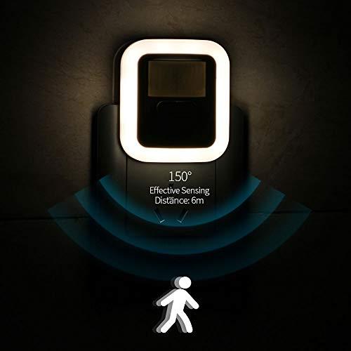 ZHS LED Enchufe de Movimiento Sensor de Movimiento Luz de Pared Noche Luz de la lámpara 30s / 60s / 90s / 120s Tiempo de iluminación Ajustable para la Sala de Estar Luz Nocturna