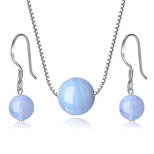 coai Geschenkideen Schmuck-Sets 925 Sterling Silber Halskette mit Anhänger und EIN Paar Ohrhänger aus Chalcedon Blau für Damen