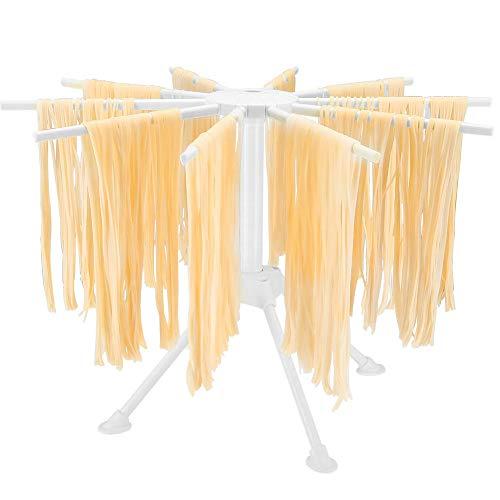 MOCOLI Stendi Pasta Fresca Legno Stendipasta Pieghevole con essiccatore per Noodle Domestico da 10 Bars, Luce Facile da Installare e Memorizzare (Bianca)