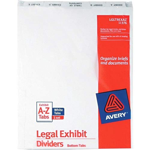 Avery Legal Exhibit Dividers; Bottom Tab; A-Z; 11' x8-1/2; White