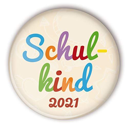 stylebutton® Button Anstecker Schulkinder Geschenk zum Schulanfang 2021 / Einschulung 56 mm (#10 Schulkind bunt)