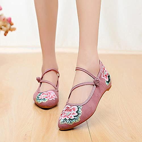 FHSMRING Mujeres de algodón Tela Ballet Pisos Puntas Puntiagudas Strap Strap Señoras Casuales Ballerinas Zapatos Bordados Harajuku (Color : Rosa, tamaño : 37 EU)