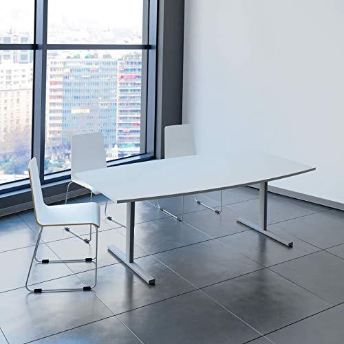 Weber Büroleben GmbH Easy Konferenztisch Bootsform 200x100 cm Lichtgrau Besprechungstisch Tisch, Gestellfarbe:Silber