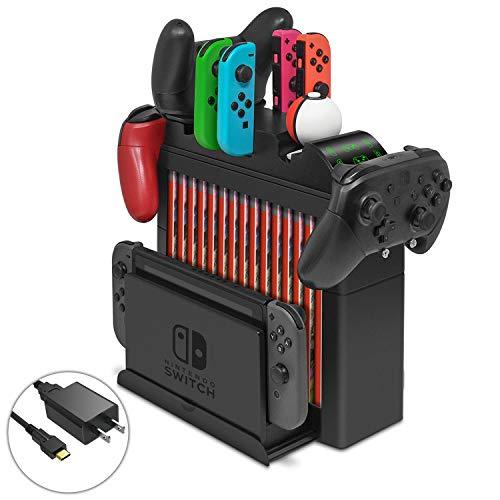 Base de Carga multifunción para Nintendo Switch, Organizador y Soporte de Almacenamiento con Cargador rápido