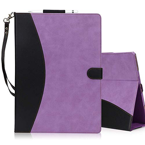 Fyy Case for iPad Pro 12.9 inch (1st and 2nd Generation, 2015 and 2017 Model), Premium PU Leather Case with Apple Pencil Holder and Auto Sleep Wake Function Purple& Black