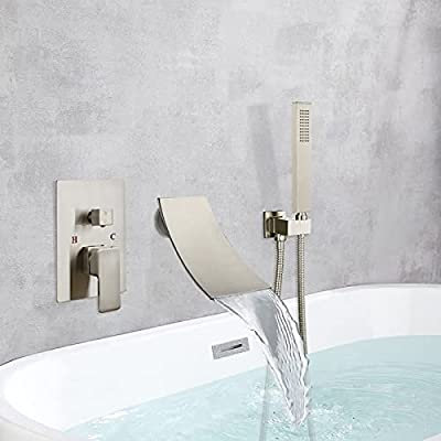 Brushed Nickel Waterfall Bathtub Faucet Wall Mounted and Hand-held Shower Tub Spout Bathroom Tub Filler One Handle Shower Kit Rough-in Valve Brass