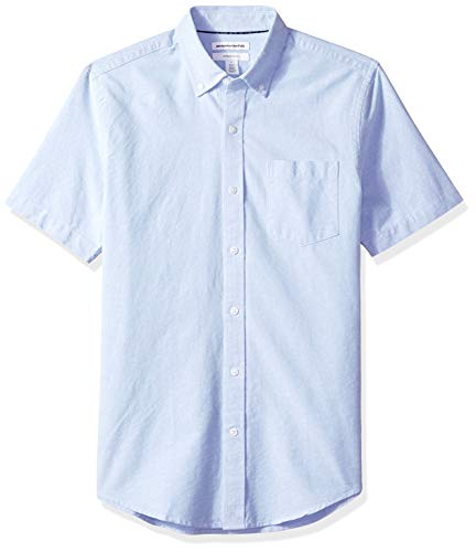 Amazon Essentials – Camisa Oxford de manga corta con bolsillo de corte entallado para hombre, Azul (Blue Blu), US S (EU S)