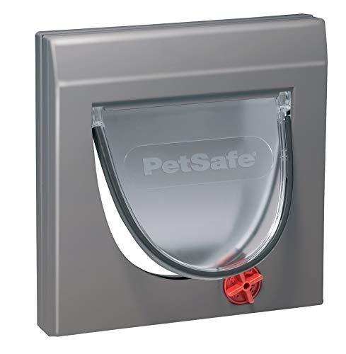 PetSafe Staywell Klassische Katzenklappe, 4 manuelle Verschluss-Optionen, Für Holz, Glas, PVC, Ziegelwände mit einer dicke von mindestens 5 cm, Inklusive festem Tunnel, Katzen bis 7 kg, grau