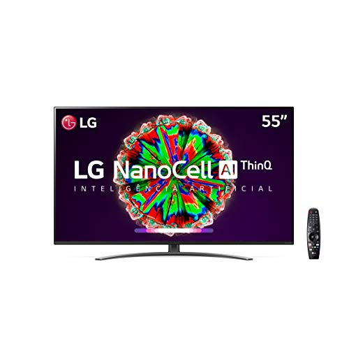 "Smart TV LG 55"" 4K IPS NanoCell WiFi Bluetooth HDR Inteligencia Artificial ThinQAI Google Assistente Alexa IOT - NANO81"