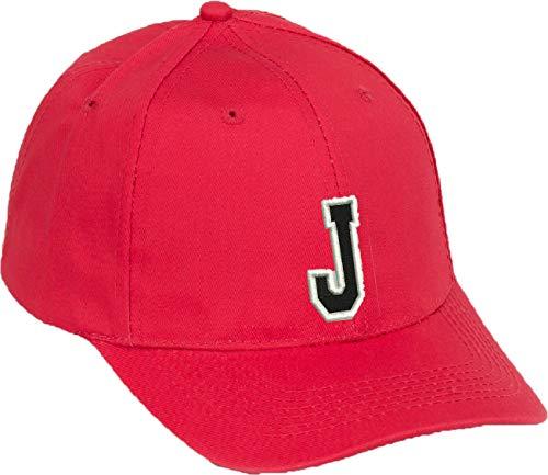4sold Lässige Baumwolle Alphabet A-Z Red Caps Schwarz Brief Snap Back Hut Hüte Unisex Jungen Mädchen oder Mann Cap Baseball Cap ROT Hut Kinder Cap Alphabet A-Z (Rot J, Kinder)