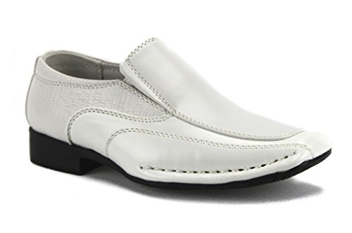 Bonafini Infants/Toddlers I-140 Classic Slip On Dress Shoes Loafers, White, 6