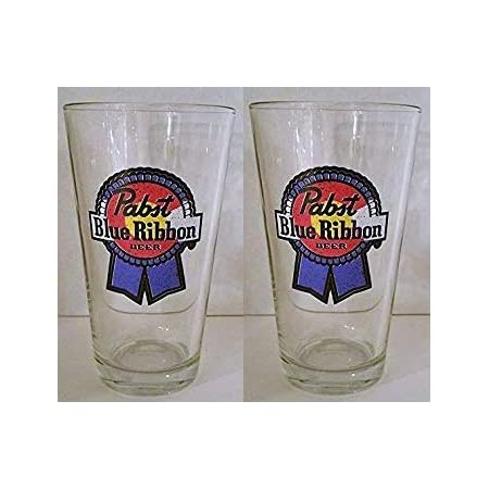 NEW Pabst Blue Ribbon PBR NOS collins chaser style beer glass 2 glasses old WQR5
