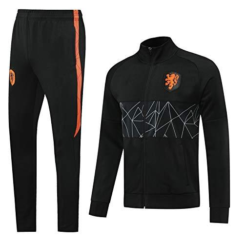 PARTAS Fußball-Trainingsanzug langärmlige Erwachsener Sportkleidung Anzug Jersey Niederlande Offizielles Fußball-Geschenk Junge Jacke und Hose (Size : XL)
