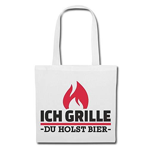 Tasche Umhängetasche ICH GRILLE BIER - GRILLEN - GRILL - BBQ - STEAK Einkaufstasche Schulbeutel Turnbeutel in Weiß